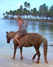 riding horses on the beach in Samana